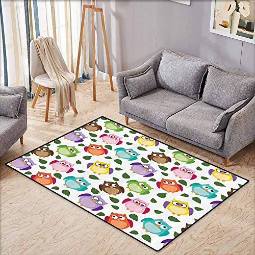 Indoor/Outdoor Rug,Owls Home Decor Collection,Owl Pattern with Leaves Closed Crossed Eyes Funny Humor Comic Artistic Design,Anti-Slip Doormat Footpad Machine Washable,3'11