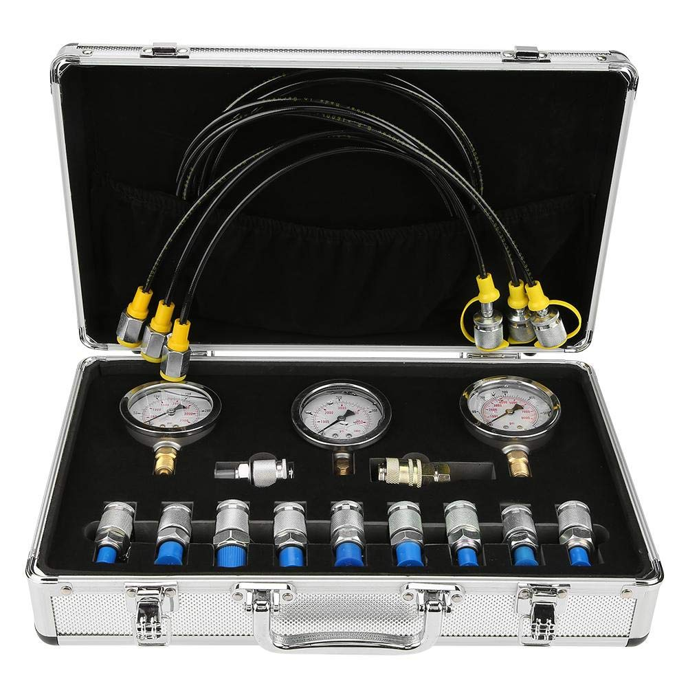 Water Pressure Test Gauge,Hydraulic Pressure Test Kit,with Testing Point Coupling and Gauge,for Excavator Hydraulic Pressure Test