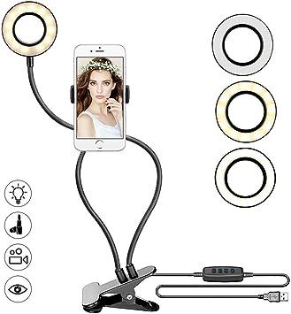 Todo para el streamer: Powcan Abrazadera Selfie Anillo Luz con Soporte para Teléfono Movil para Transmisión en Vivo, Youtube, Regulable (Modo 3-Luz, Brillo de 10 Niveles) para iPhone Android Smartphone (1)