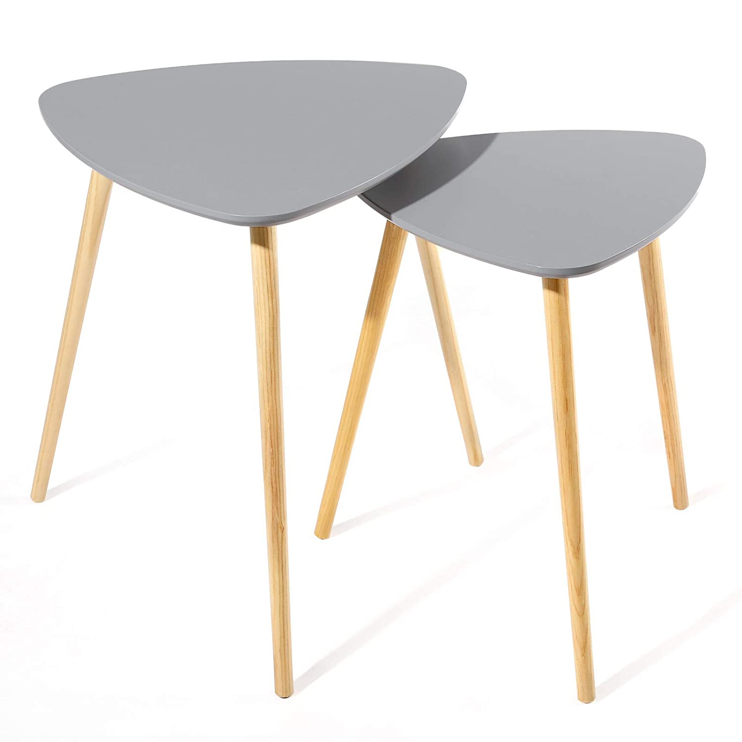SONGMICS Scandinavian Nesting Side Table, Set of 2 Triangle End Table, Coffee Table with Solid Pine Legs, Nature Grey, LET10GY