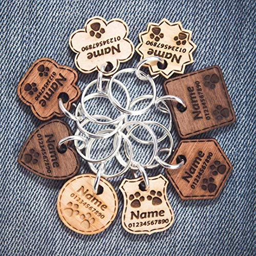 Wooden Dog Tag | Cat Tag | Personalised Pet ID | Engraved with Name and Phone Number | 6 Solid Wood Types | 8 Shapes | 3 Sizes | Thickness - 3mm/5mm ❤