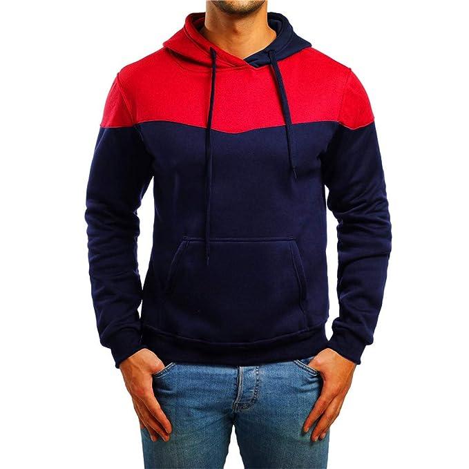 Yvelands Camisas para Hombre Deportes y Aire Libre Bolsillos Sudadera con Capucha Sudadera con Capucha Top