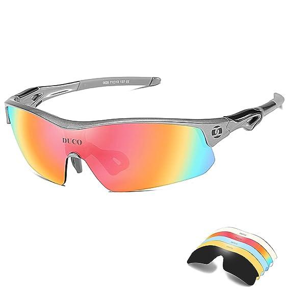bfffe1dcd1 DUCO Gafas de Ciclismo Polarizadas para Hombres con 5 Lentes  Intercambiables para Correr Golf Pescar Hiking