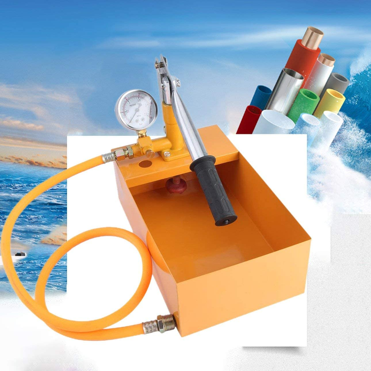 Ballylelly 25 kg Pompa manuale per test di potenza Pompa universale per perdite dacqua Pompa manuale per acqua Pompa idraulica durevole per prove di pressione