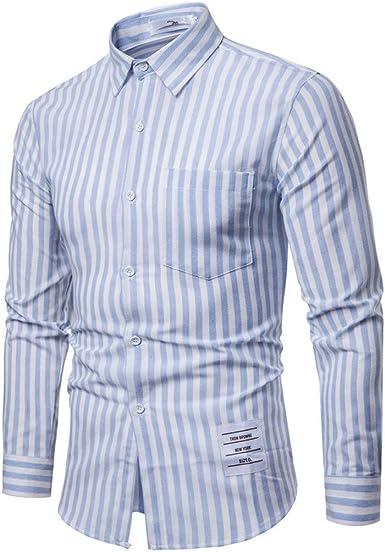 SoonerQuicker Camisa de Hombre Hombre Moda Negocio Ocio Impresión Rayas Camisa de Manga Larga Tops Blusa: Amazon.es: Ropa y accesorios