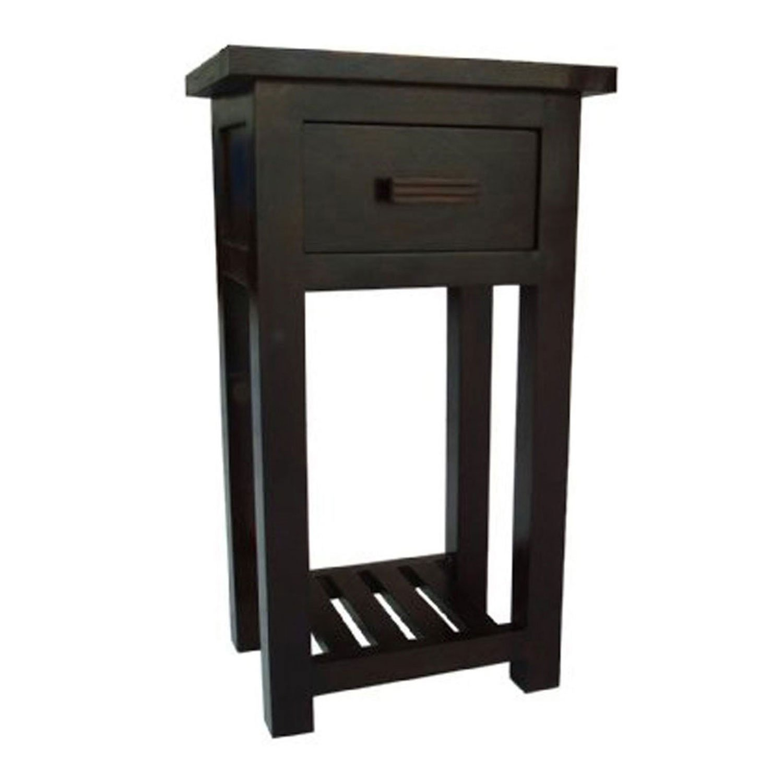 Homescapes Mangat Telephone Table, 100% Mango Wood Furniture, Walnut Shade. 44 x 35 x 78 cm a Storage Shelf