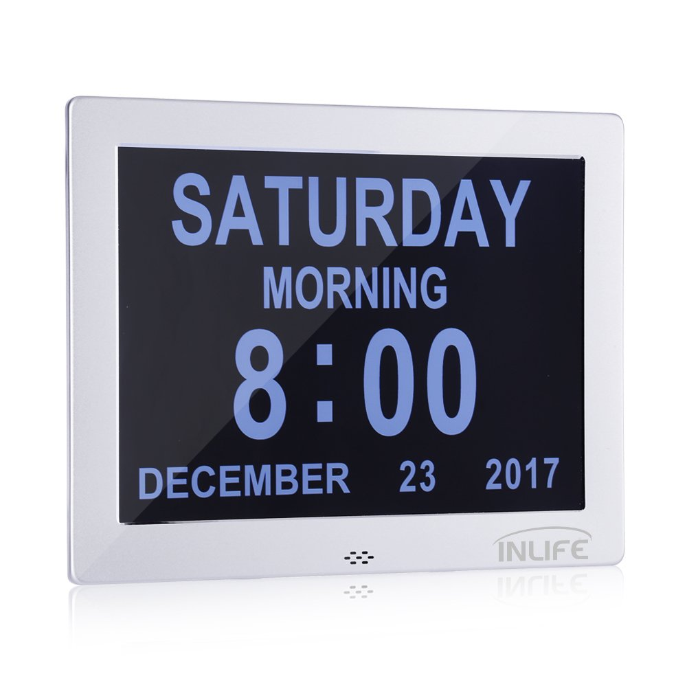 INLIFE Premium Version Day Clock Extra Large Impaired Vision Digital Clock LCD Screen Calendar Dementia Clock with Battery Backup and 8 Alarm Options