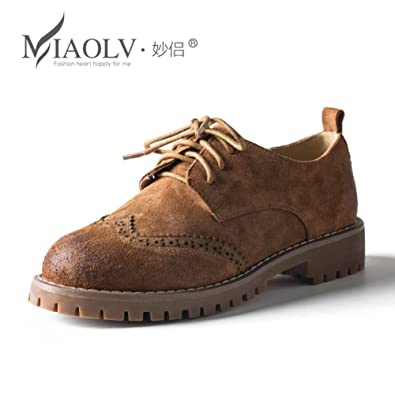 reputable site 267b9 e58f1 Bullock Schuhe im Frühling Nubuk-Leder-Schuhe/Frauen flache ...