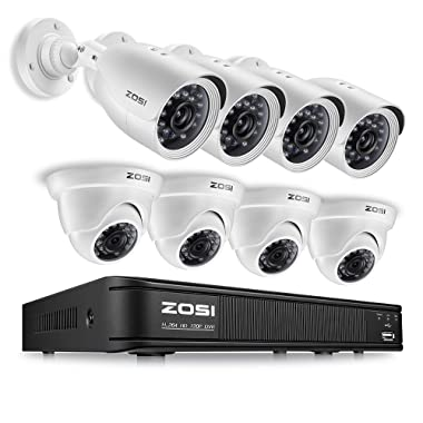 ZOSI FHD Home Security Camera System Indoor Outdoor, 1080p Lite CCTV DVR Recorder 8 Channel and (8) 720p Weatherproof Surveillance Bullet Camera, Remote Access, Motion Detection (No Hard Drive)