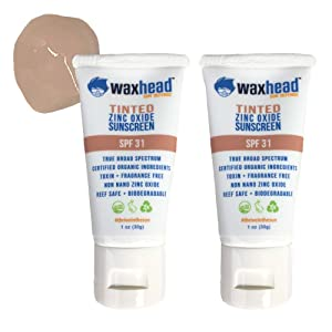 Waxhead Tinted Facial Sunscreen (2 pack) - EWG Rated 1 - Zinc Oxide, Mineral, Non-toxic, Reef Safe, Light to Medium Skin Tone, Face Tinted Sunscreen, Broad Spectrum, SPF 31, Approved for Hawaii