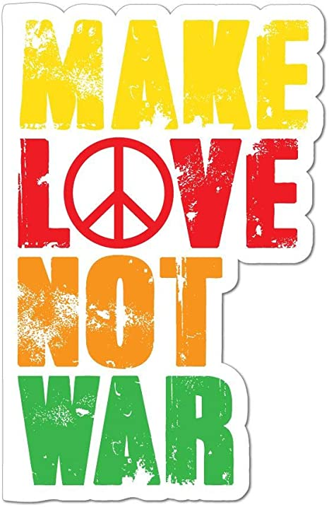 Make Love Not War Car Sticker Decal Hippie Peace Flower Power 80s Auto