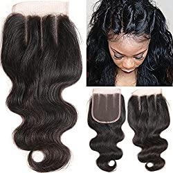 VRHOT 10 inch 3 Part Lace Closure Body Wave 4x4 Brazilian Virgin Human Hair 100% Unprocessed Three Part Lace Closure Natural Color 10'' for Black Women