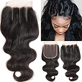 "VRHOT 10 inch 3 Part Lace Closure Body Wave 4×4 Brazilian Virgin Human Hair 100% Unprocessed Three Part Lace Closure Natural Color 10"" for Black Women"