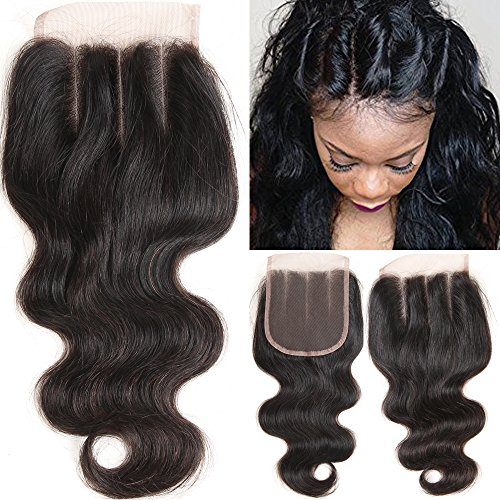 VRHOT 10 inch 3 Part Lace Closure Body Wave 4x4 Brazilian Virgin Human Hair 100% Unprocessed Three Part Lace Closure Natural Color 10'' for Black Women (10 Inch Wave)