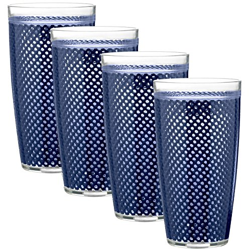 Kraftware The The Fishnet Collection Navy Doublewall Drinkware, Set of 4, 22 oz, Blue