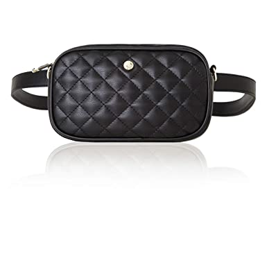85757f0a2de Amazon.com: 2-way Waist Bags for Women Fanny Pack Small Travel Bag Quilting  Crossbody Bag Waist Pack (One size, Black (Diamond)): Clothing