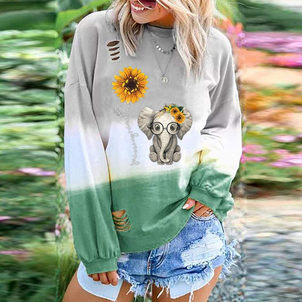 Eoeth Womens Elephant Sunflower Printed Gradual Long Sleeve Round Neck Shirt Top Blouses Pullover Sweatshirt T-Shirts