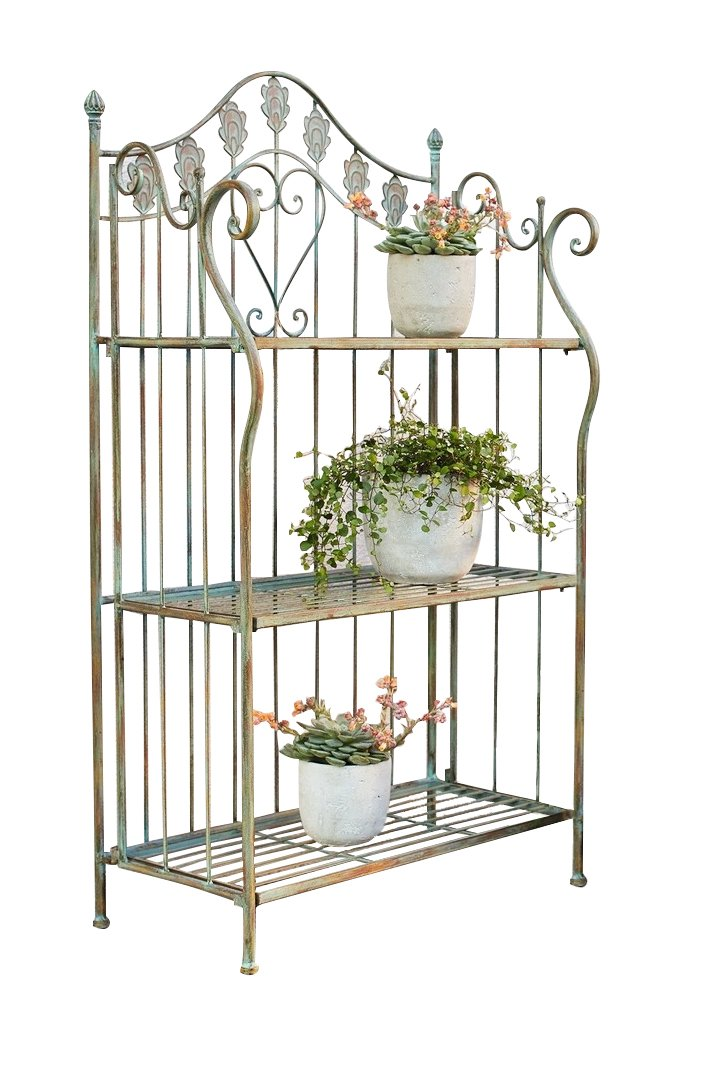 PierSurplus 41 in. Folding Metal Shelf/Baker's Rack w/Scrolling Heart & Peacock Tail Motif Product SKU: HD223588 by PierSurplus