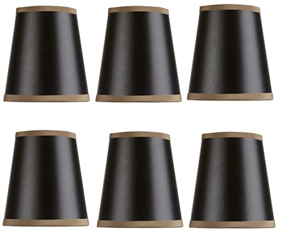 Mini Chandelier Shades Clip On Small Lamp Shade Set Of Six Black