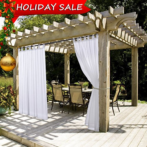 White Outdoor Curtain and Drape for Pergola - NICETOWN Lightweight Mildew Resistant Tab Top Sheer Voile Panel with Rope Tie Back (1 Pack, 54 Inch Wide by 108 Inch Long, White)