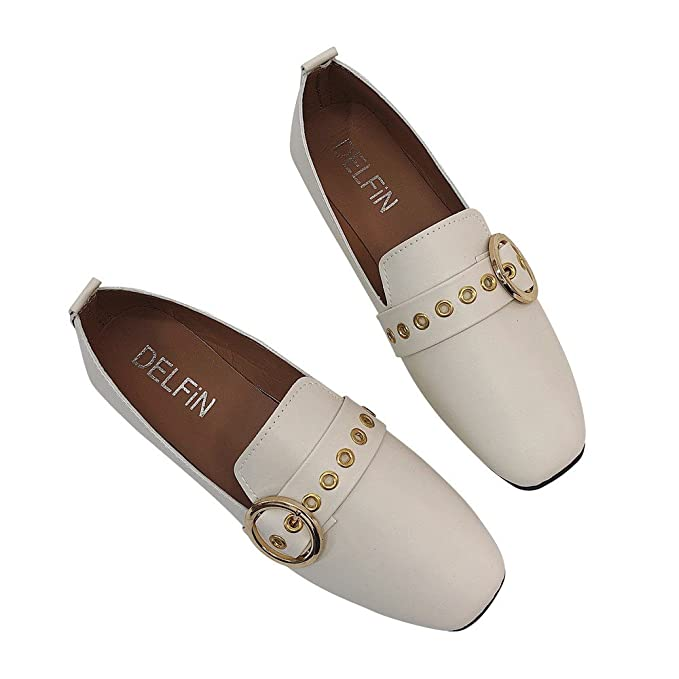 Ghemdilmn Liquidación Mujeres Braguita de Punta Cuadrada británica Zapatillas Individuales Boca Baja Resbalón en Zapatos Planos Mocasines Planos Zapatos de ...