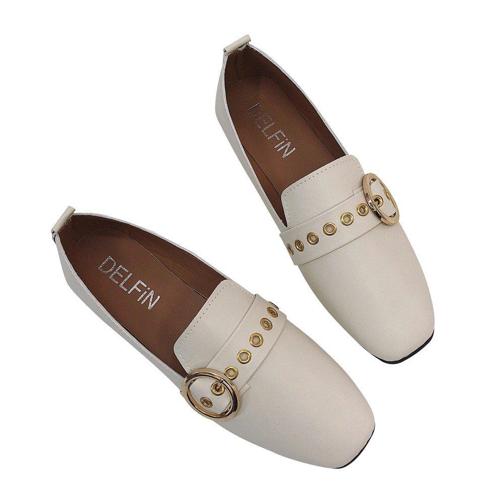 Longra ♬♬♬ ✈✈✈ Señoras británicas Zapato único Zapato Plano Zapatillas Planas Zapatillas cómodas Planas