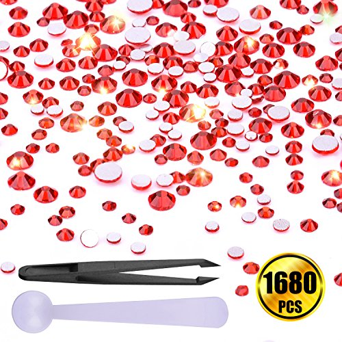 WXJ13 Red Flatback Rhinestones 1680 Pieces Craft Diamond with 1 Piece Tweezer and 1 Piece spoon, 6 Size (1.6 mm, 1.8 mm, 2 mm, 2.4 mm, 2.8 mm, 3 mm) 0.07' Tip