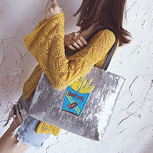 Women blue Bag Ladies Travel Holiday Bag Bag Shoulder Glitter Shopping Oversized for Millya Tote Sequins TxpUqwqa