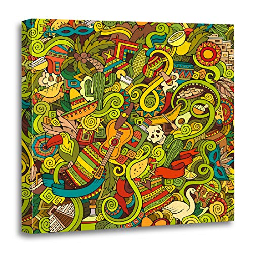 Emvency Canvas Wall Art Print Mexican Cartoon Doodles on The Subject of Latin American Style Colorful Hispanic Artwork for Home Decor 20 x 20 Inches Colorful Mexican Folk Art