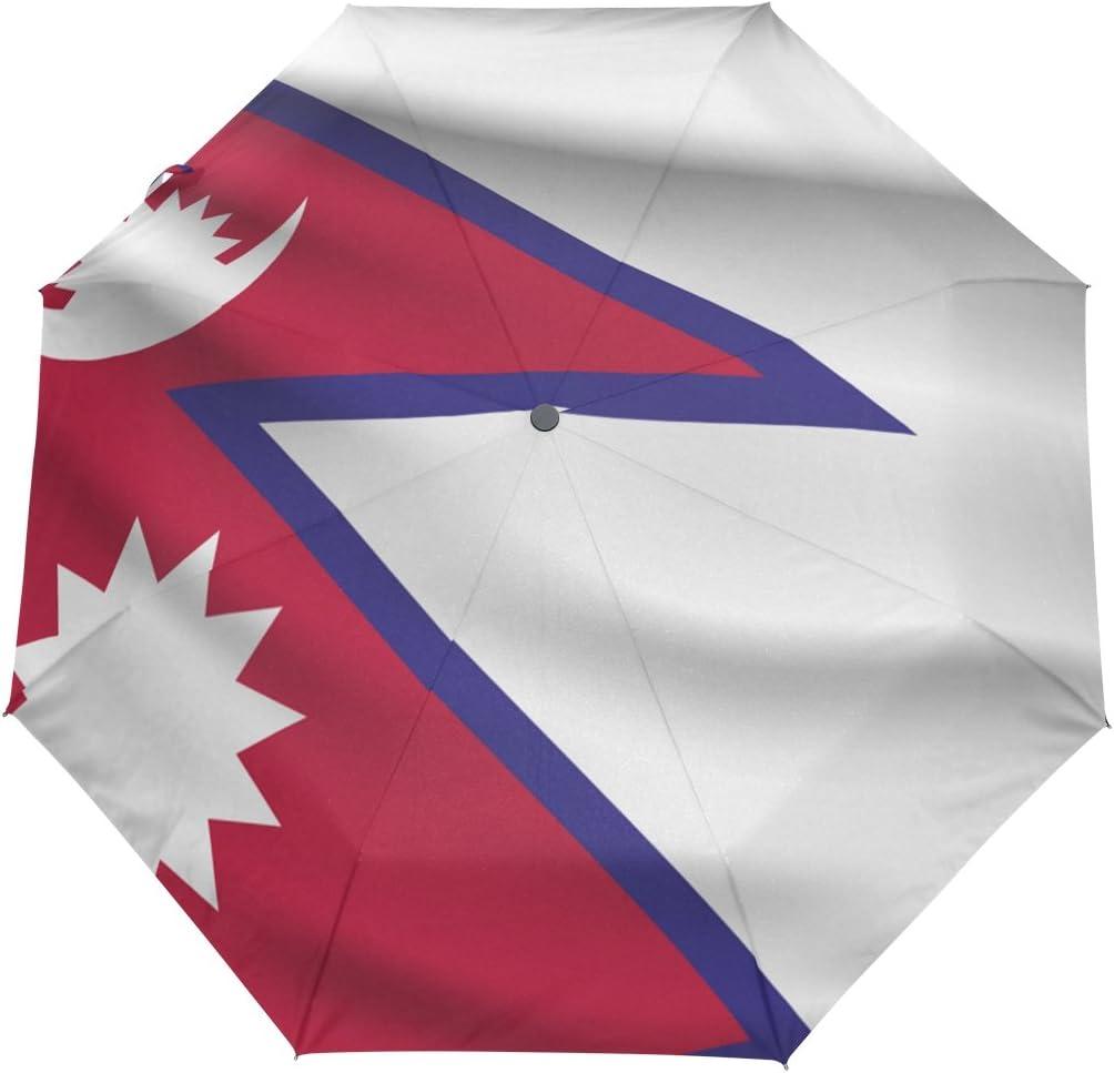 Sombrilla con Bandera de Nepal UPF 50+ Resistente al Agua, Resistente al Viento, 3 Paraguas Plegable con Cierre automático: Amazon.es: Equipaje