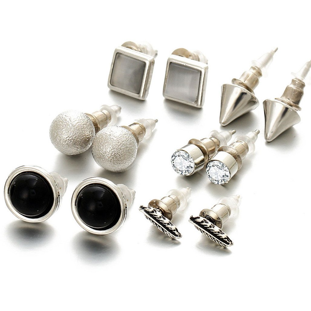 LnLyin 6 Pairs Fine Earrings Suit Fashion Jewelry Earrings Combination Card Set