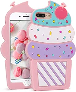 Megantree Cute iPhone 7 Plus Case, iPhone 8 Plus Case, 3D Cartoon Ice Cream Cupcakes Shaped Soft Silicone Full Protection Shockproof Cases Cover for Girls Kids Women Lady