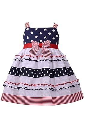 6c087e387b9d Bonnie Jean Little Girls 2T-4T Tiered Patriotic Dress- Kids July 4th Party  Dress