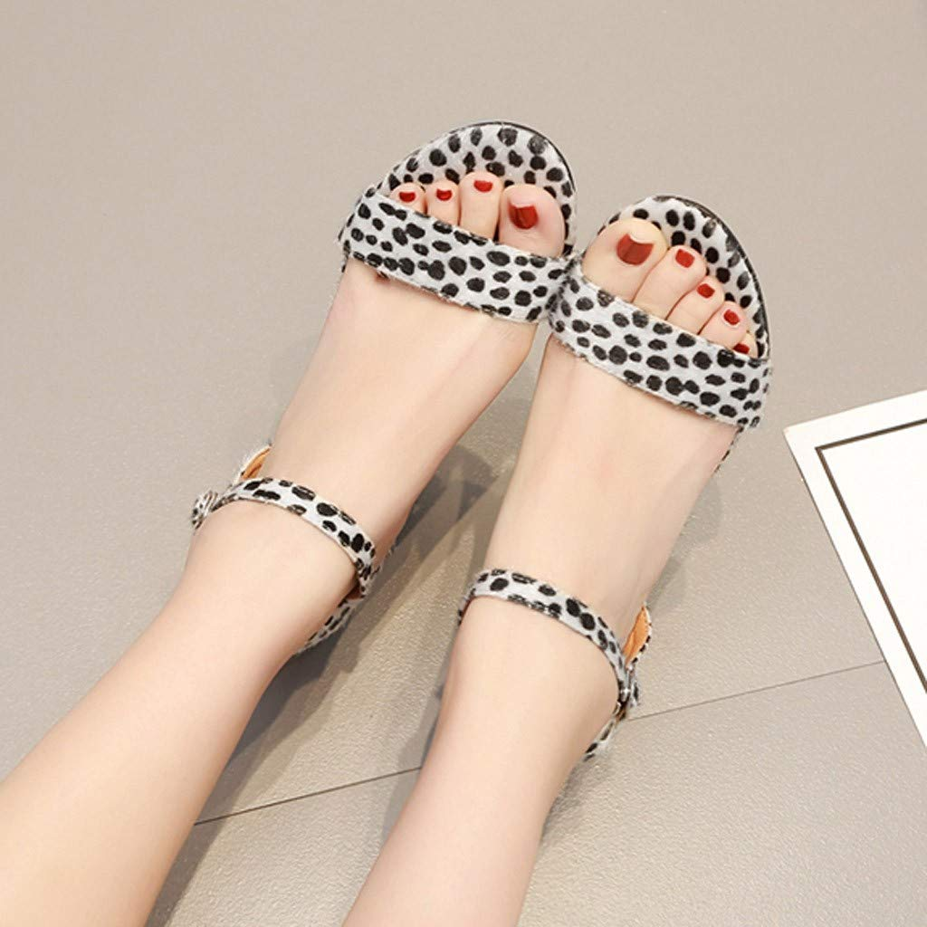 Summer Women Sandals Thick Heel Sandals Ankle One Word Buckle Sandals Shoes by LUXISDE (Image #2)