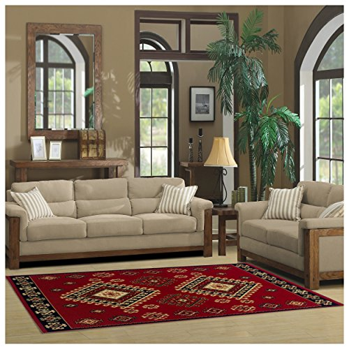 Superior Santa Fe Collection 5 x 8 Area Rug, Attractive Rug with Jute Backing, Durable and Beautiful Woven Structure, Bright and Bold Southwest Style – Red