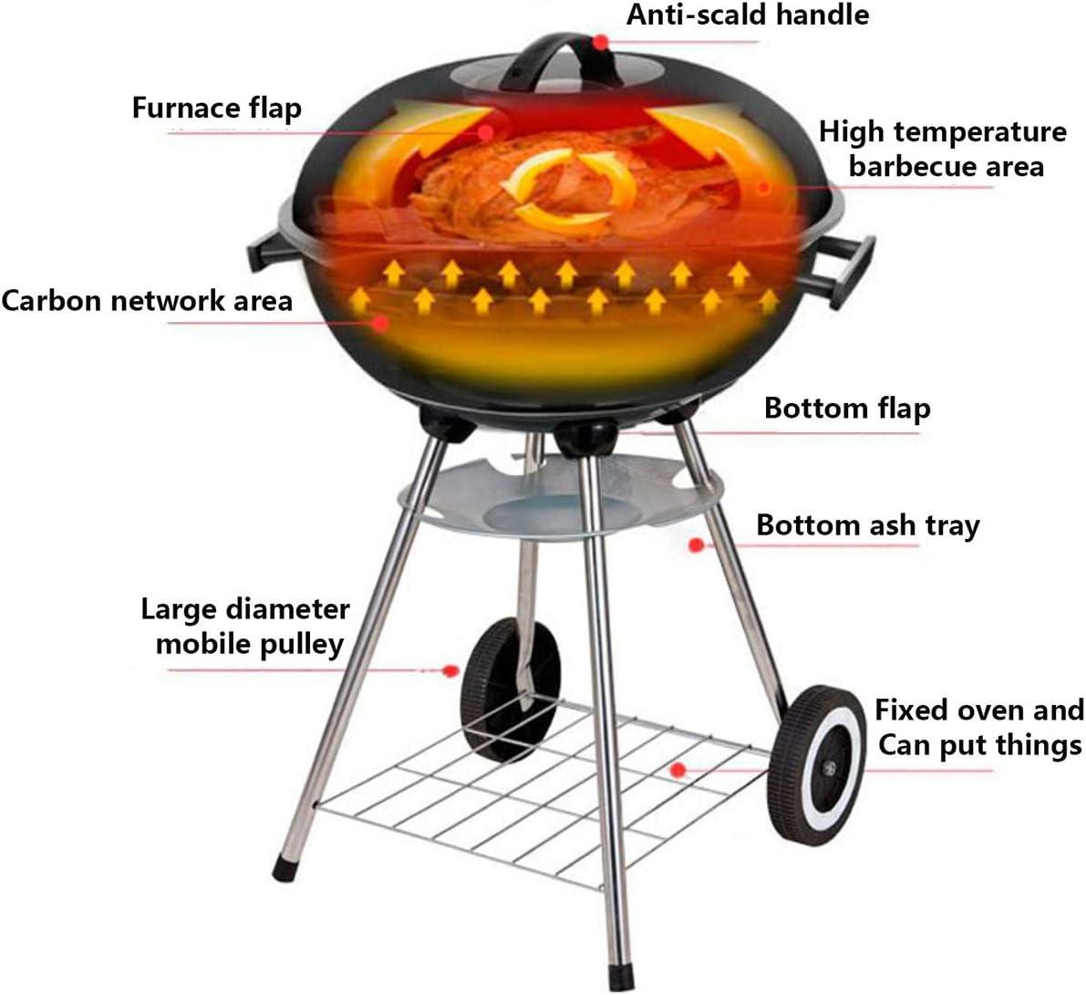 LW Round Bouilloire Barbecue Au Charbon Grill Jardin Barbecue Pique-Nique Camping Famille Party Heat Contrôle W Portable/Tablette Et Roues,Rouge Black