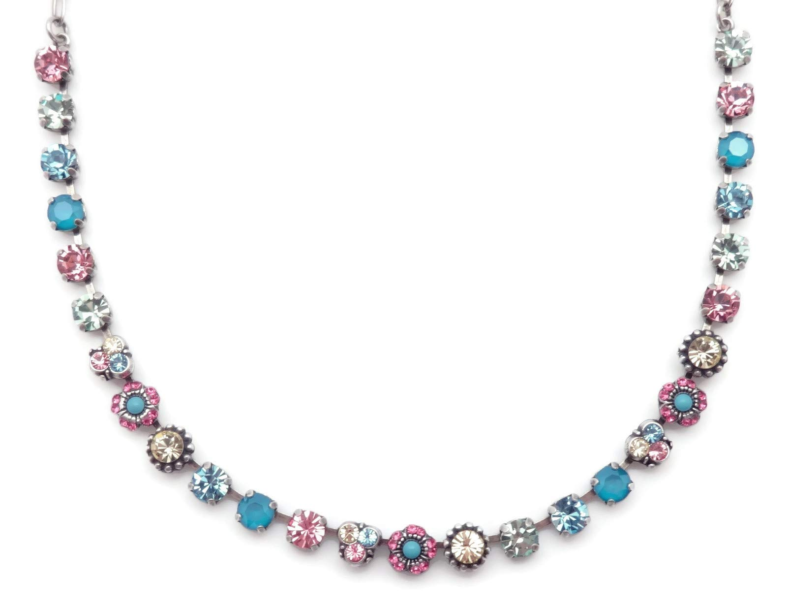 Mariana Spring Flowers Swarovski Crystal Silvertone Necklace Blue Pink Yellow Green Mix Mosaic 125 by Mariana (Image #1)