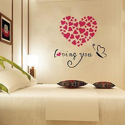 Amazon.com: YK 3D Love Heart Loving You Acrylic Crystal Wall Sticker ...
