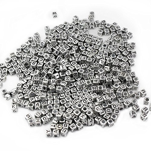ESUMIC Mixed 500PCS Acrylic Plastic Letter Beads Spacer Cube Alphabet Beads for DIY Bracelets Necklaces (silver)