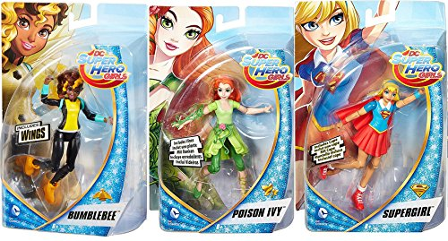 Harley Quinn Batman The Animated Series Costume (DC Super Hero Girls 3-Pack Action Figures Supergirl with Cape / Poison Ivy with Vines & Bumblebee with Wings Super Hero Fun Set)