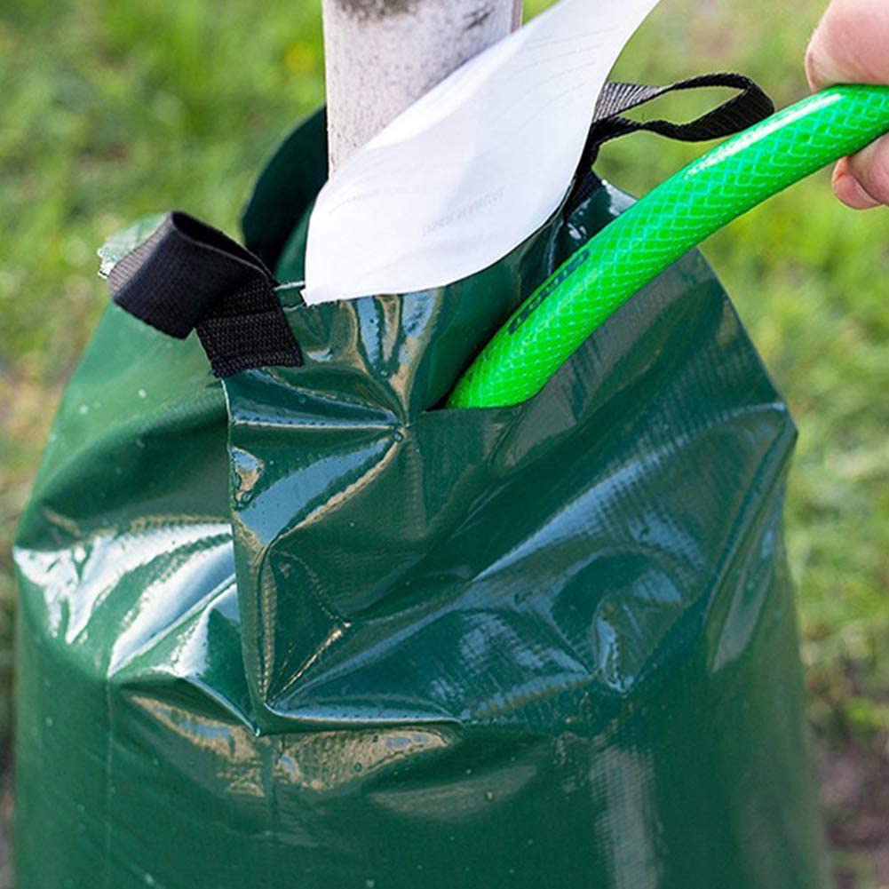 CRZJ Tree Watering Bag, Slow Release Irrigation Bag for Trees PVC Heavy Duty with Zipper 5-8 Hours Releasing Time Green,5pack 2 Pack