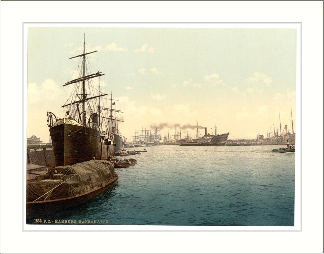 Amazon.com: Ships in the Harbor Hamburg Germany, c. 1890s, (L) Library  Image: Prints: Posters & Prints