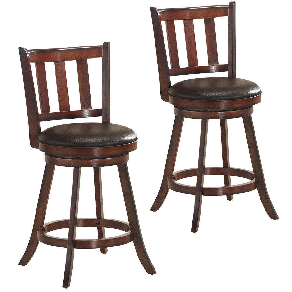 COSTWAY Bar Stools Set of 2, Counter Height Dining Chair, Fabric Upholstered 360 Degree Swivel, PVC Cushioned Seat, Perfect for Dining and Living Room Height 24.5 -Set of 2