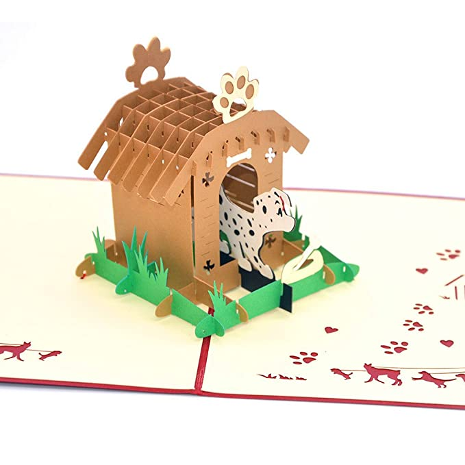 Medigy 3D Pop Up tarjetas de felicitación, caseta de perro y perro en blanco tarjetas para niños: Amazon.es: Oficina y papelería