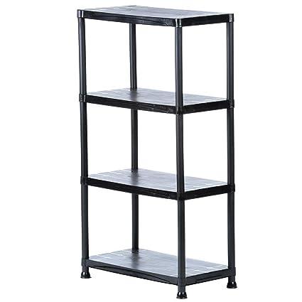 HDX 4-Shelf 15 in. D x 28 in. W x 52 in  sc 1 st  Amazon.com & Amazon.com: HDX 4-Shelf 15 in. D x 28 in. W x 52 in. H Black Plastic ...