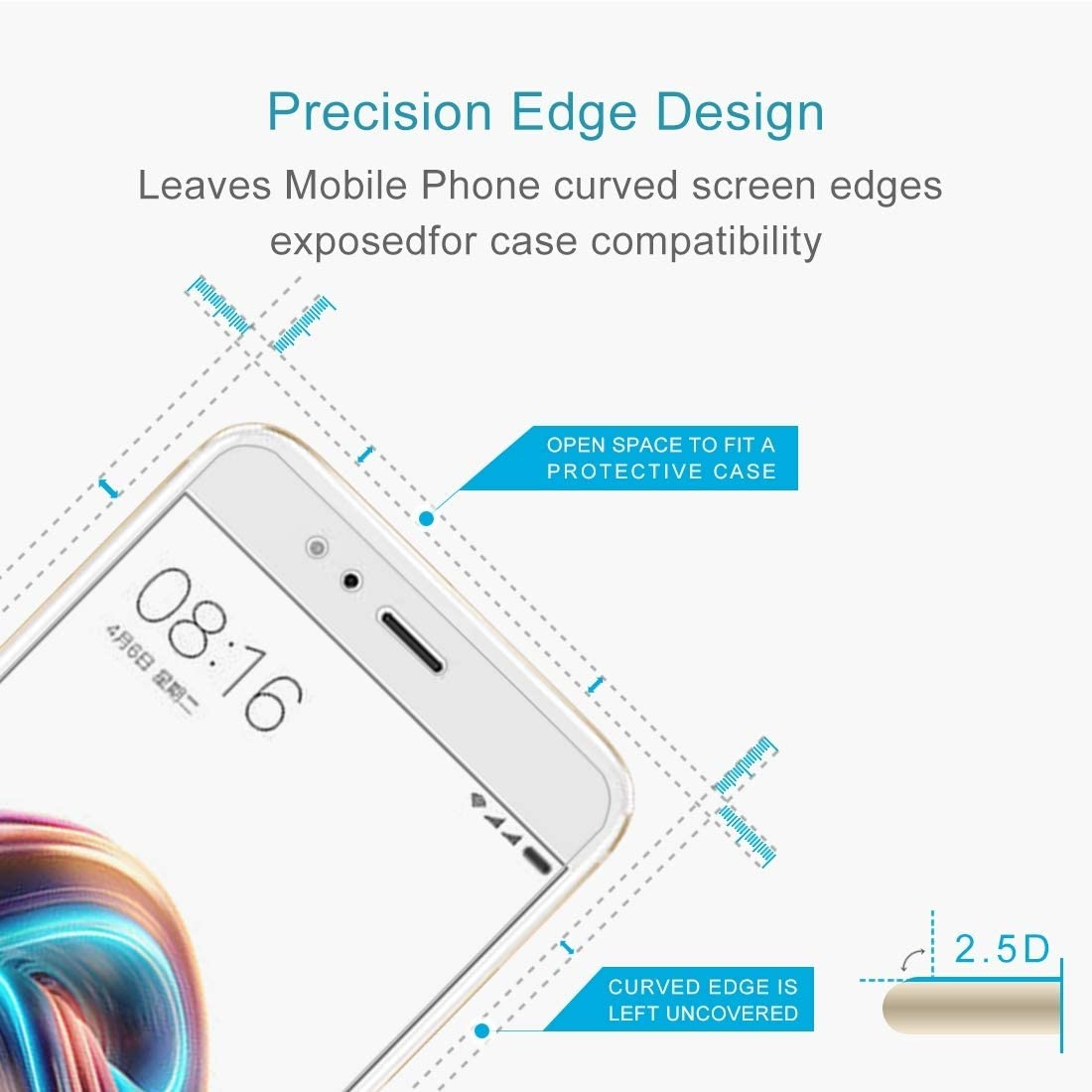 No Retail Package KANEED Tempered Glass Film 50 PCS for Xiaomi Mi 5X A1 0.26mm 9H Surface Hardness 2.5D Explosion-Proof Full Screen Tempered Glass Screen Film