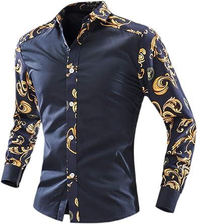 Dazosue Camisa De Vestir para Hombre con Estampado Floral De Retazos De Seda como Slim Top: Amazon.es: Ropa y accesorios