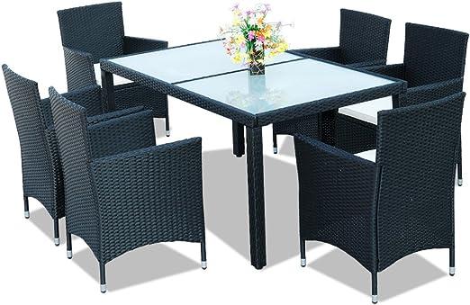NYC Hengda® 6+1 Muebles de jardín Modular Ratán Mesa de ...
