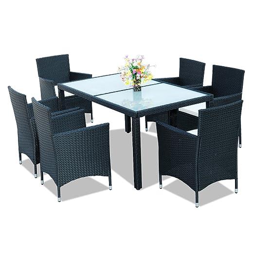 Hengda® 6+1 muebles de jardín Modular Ratán Mesa de comedor ...