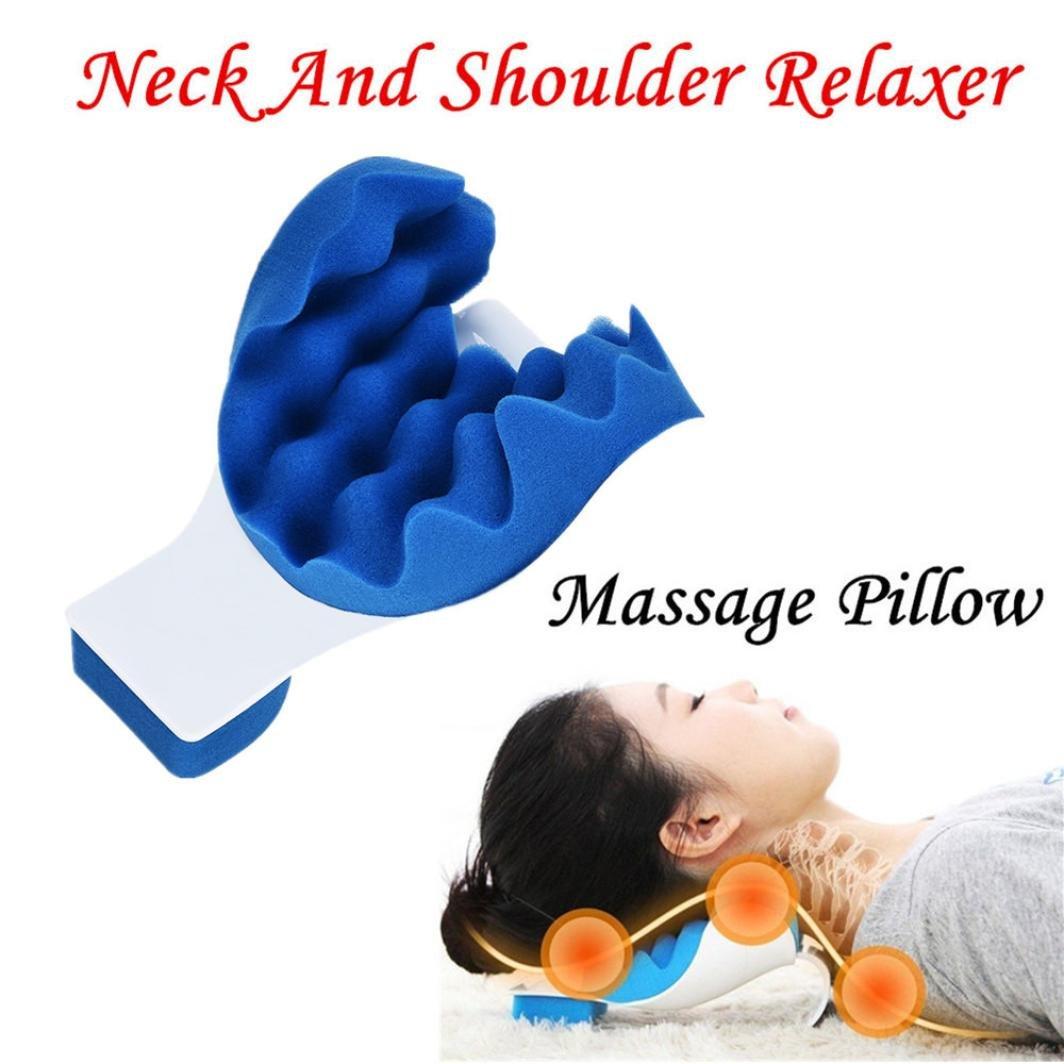 Massage Pillow -Vanvler Neck and Shoulder Relaxer Pain Relief Neck Support Pillow Massager (Blue)